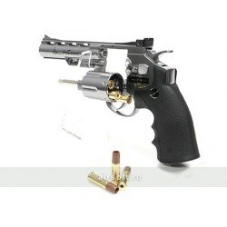 REVOLVER DAN WESSON 4 INCH SILVER - FULL METAL - GNB - CO2