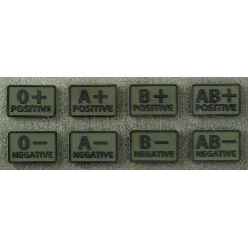 PATCH GRUPA SANGUINA - AB NEGATIV - OLIVE GREEN