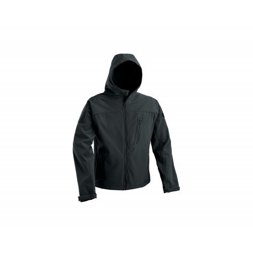 SOFT SHELL JACKET WITH FIXED HOOD - BLACK