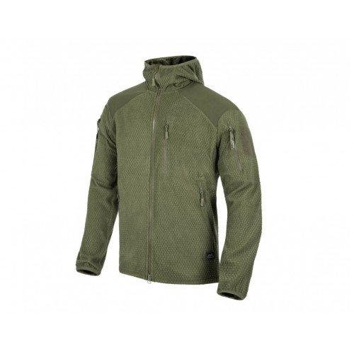 JACHETA MODEL ALPHA HOODIE  - GRID FLEECE - OLIVE GREEN