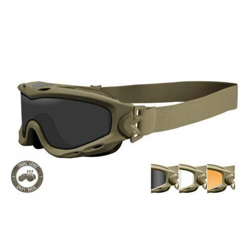 OCHELARI TACTICI CU PROTECTIE BALISTICA MODEL SPEAR CU LENTILE DUAL SMOKE GREY CLEAR LIGHT RUST RAMA MATTE TAN