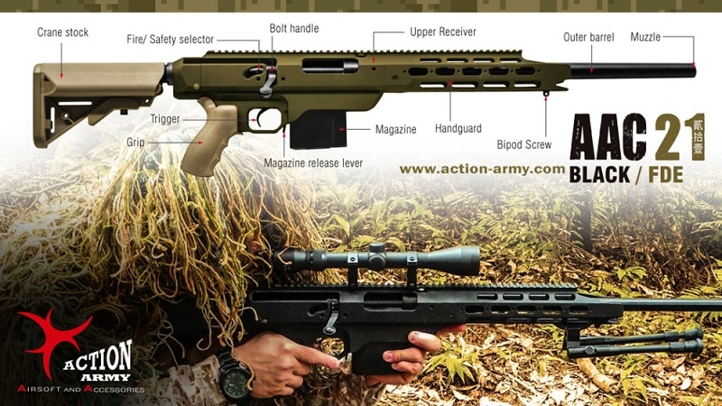 AAC21 SNIPER GAS RIFLE - BLACK