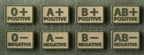Patch Grupa Sanguina - B Negativ - Kaki imagine