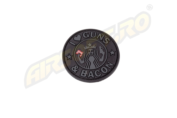 Patch Cauciuc - Guns And Bacon - Black imagine