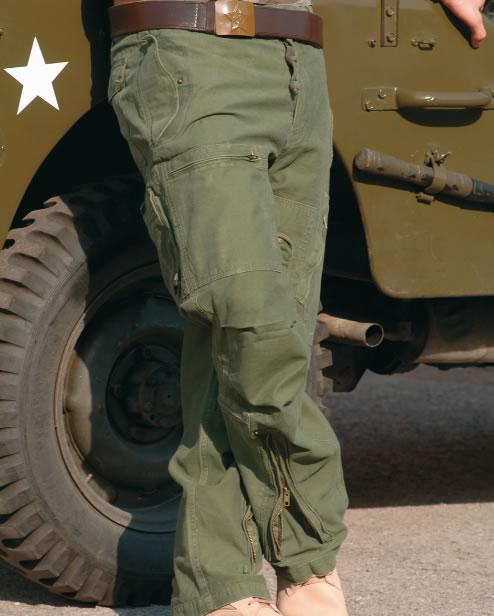 Pantaloni Model Aviator Moleskin Prespalati - Oliv imagine