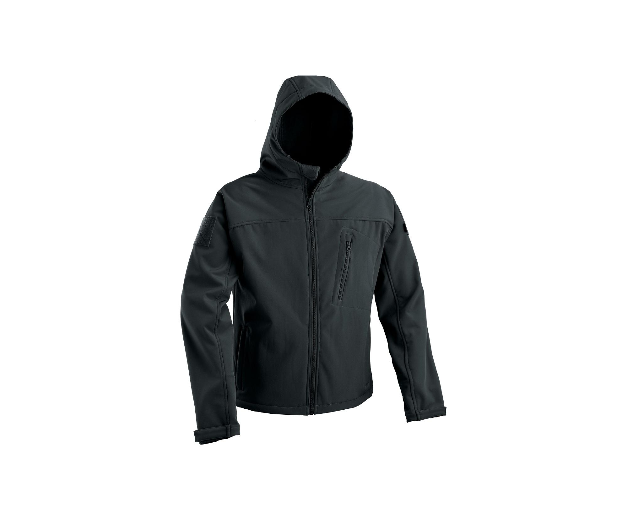 Soft Shell Jacket With Fixed Hood - Black imagine