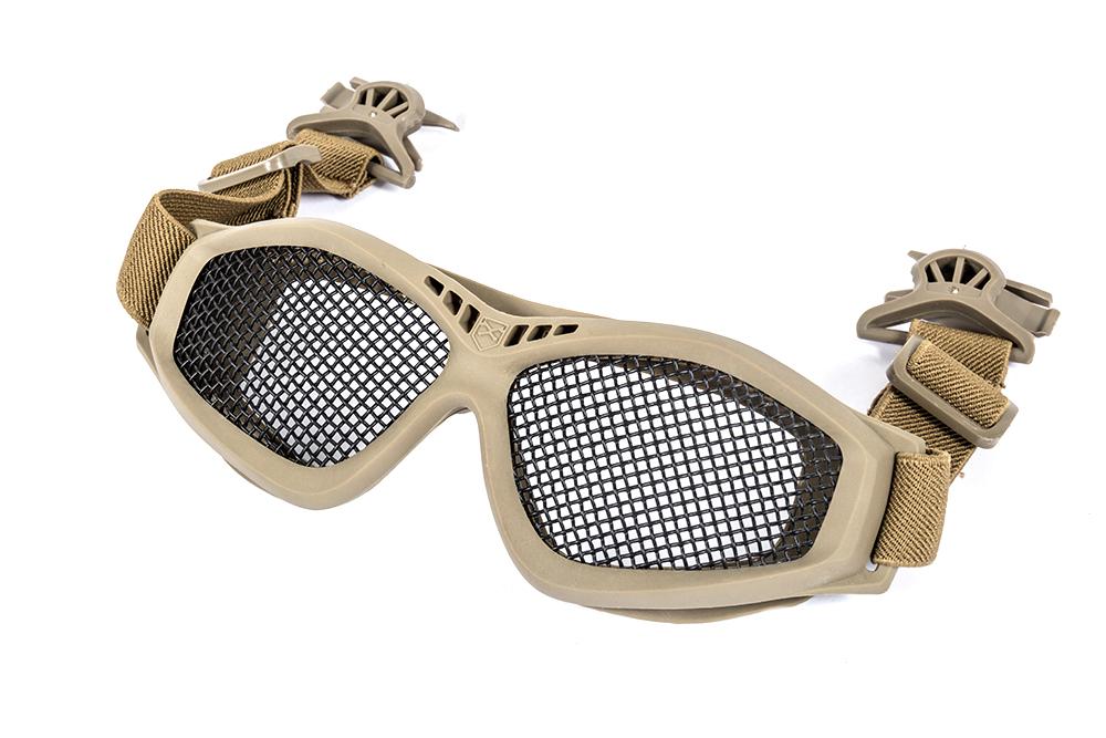 Ochelari Cu Plasa Plus Clip Pentru Prindere Pe Casca - Tan imagine